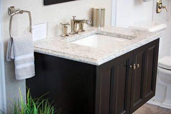 Kohler Batiste Black vanity and the Margaux® Polished Nickel faucet